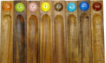 Rainbow collection Acacia wood and ceramic incense holders